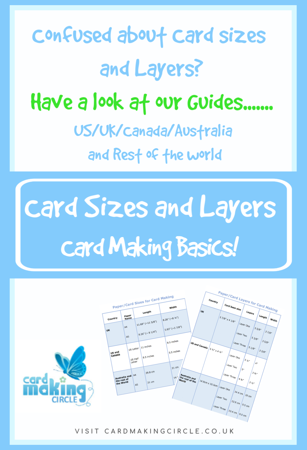 Are you confused about card layers and sizes for making your handmade cards?  If so, check out our guides for the US, UK, Canada, Australia and the Rest of the World.