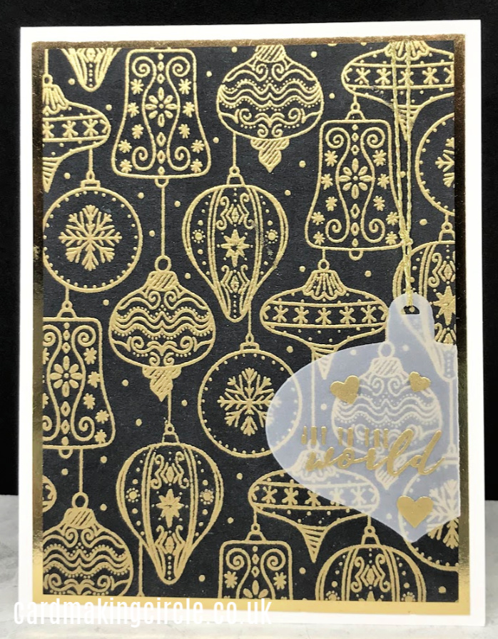 Black and gold ornament Christmas card made with the Vintage Bauble background stamp from Catherine Pooler Designs,
