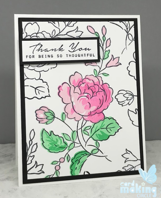 Flower greeting card using a layering stamp from Altenew