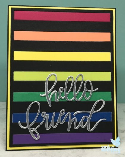 Inlaid die cutting rainbow card made with the bold stripes cover die from My Favorite Things stamps