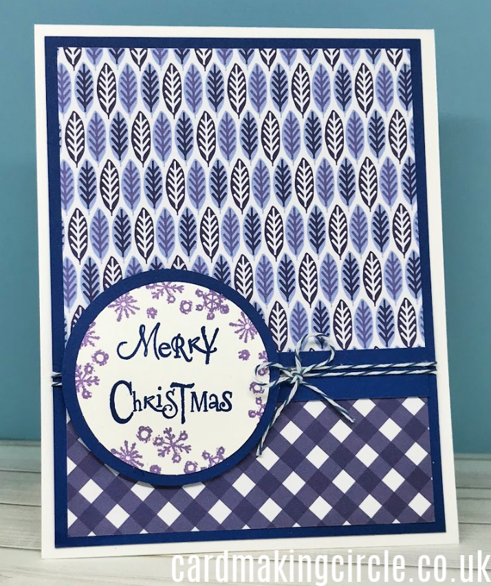 Modern Christmas card made with patterned paper from Reverse Confetti