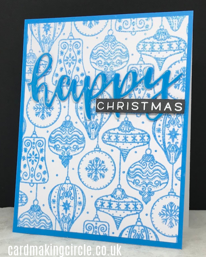 Ornament Christmas card made with a background stamp, Vintage Baubles from Catherine Pooler Designs.