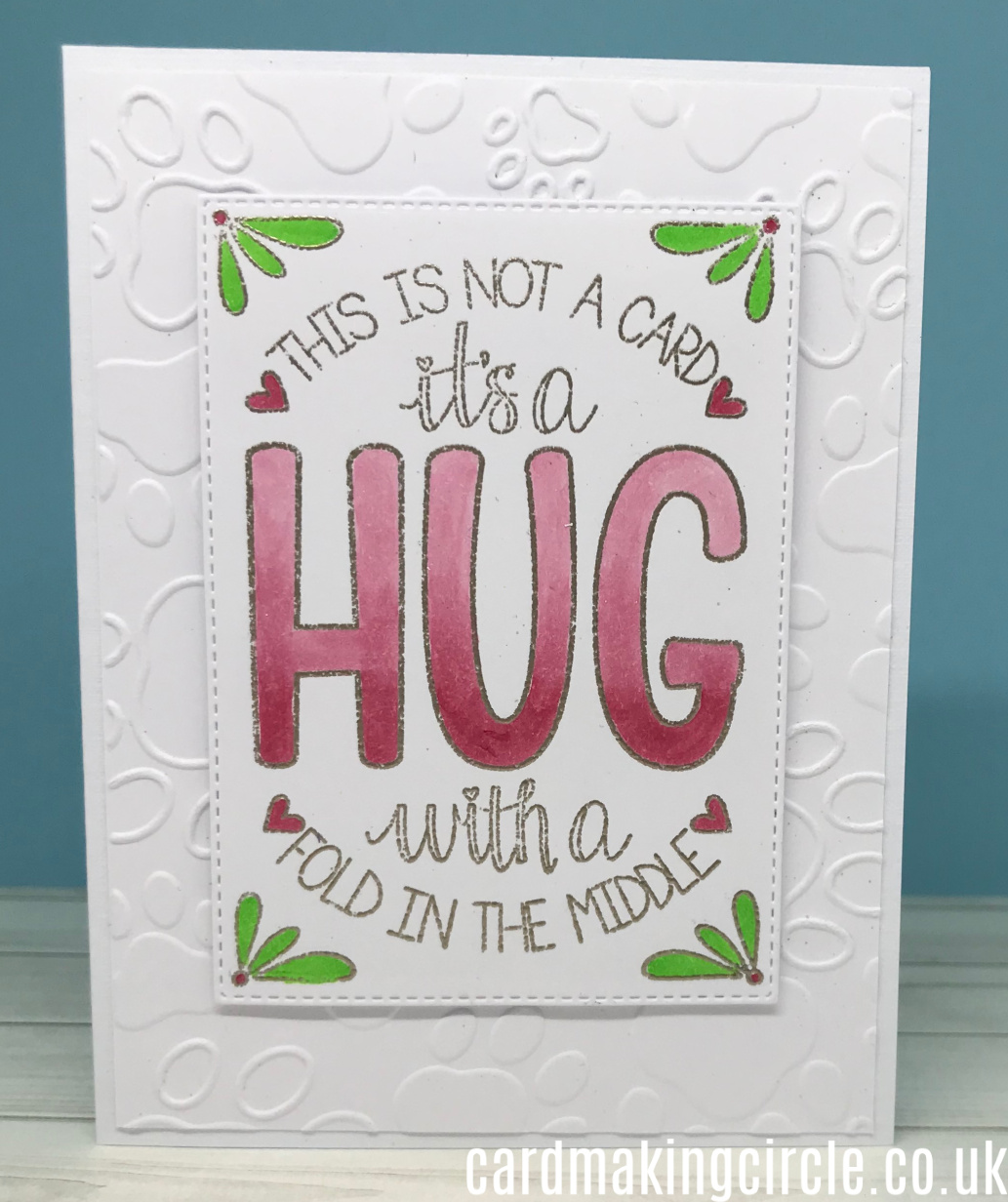 Hug card made with the folded Hug stamp set from Trinity Stamps