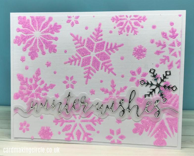 Modern Christmas card made with Glimmer Paste and the Snowflake stencil from Tonic Studios.