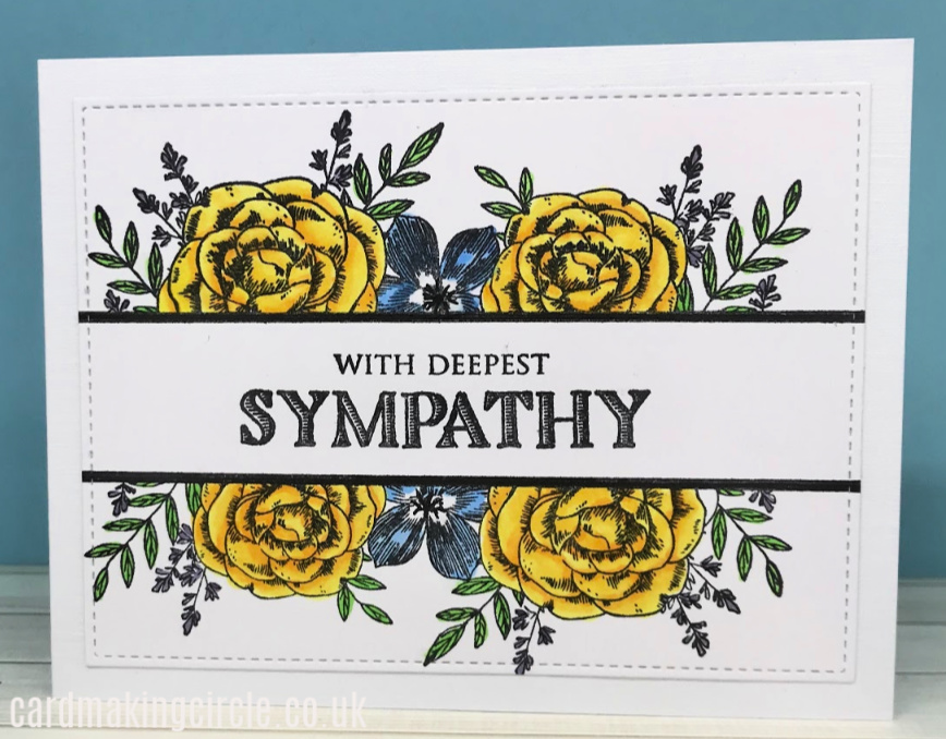 A classic sympathy card created with the Flip the Floral stamp set from Taylored Expressions.  Coloured with alcohol markers.