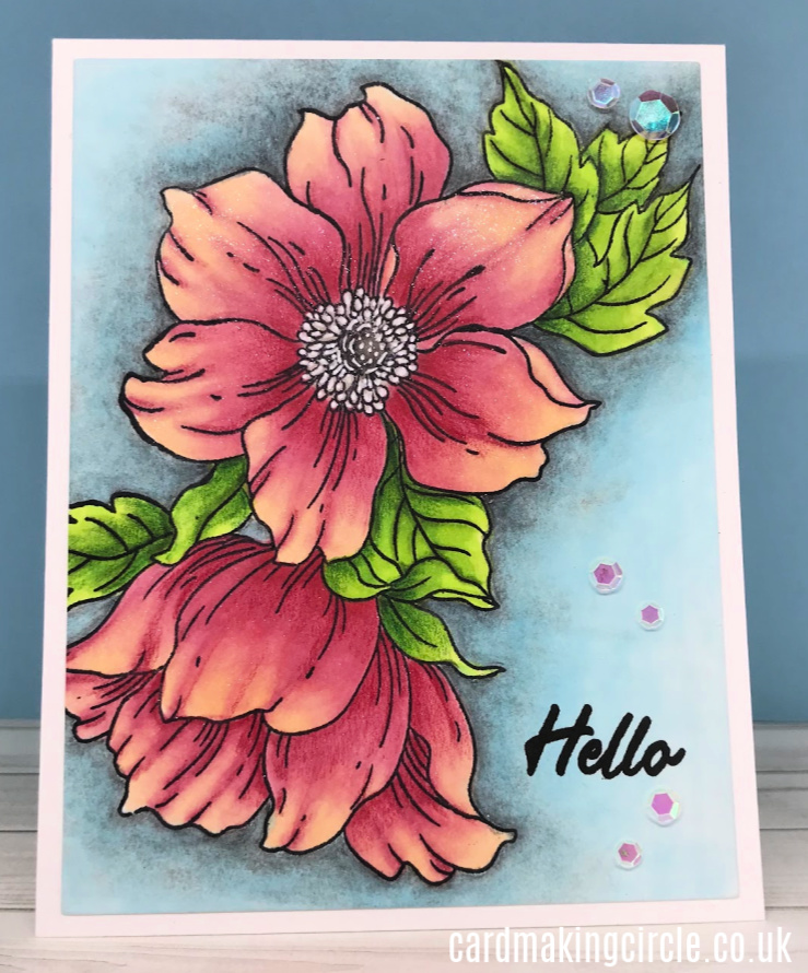 A Hello card featuring the Statement Flowers stamp set from Altenew.  Coloured with Copic markers and Polychromos coloured pencils.