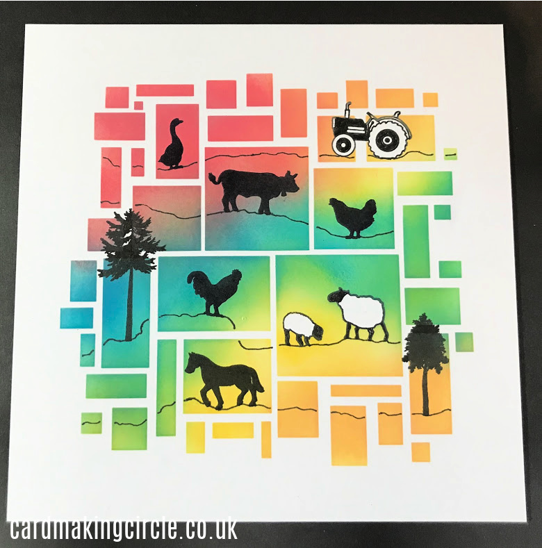 Created with a stencil and stamps from Clarity Stamps.  Ink blended with distress inks and stamped with Versfine Onyx black ink