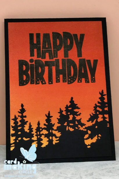 Handmade birthday card made with ink blending techniques