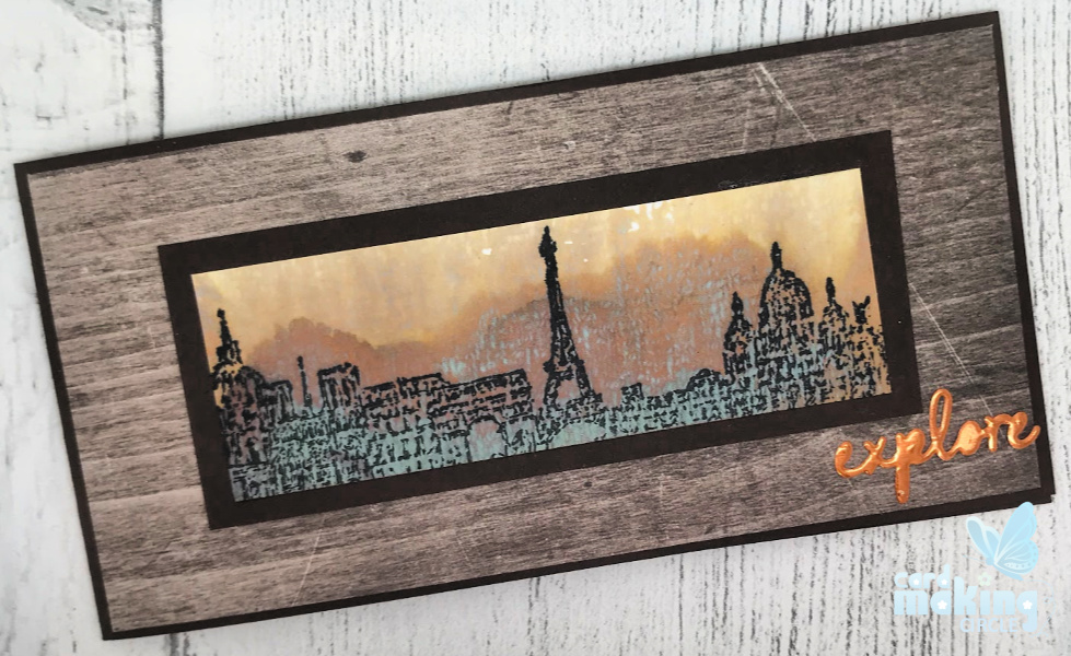 Block printing technique using acrylic blocks.  Card show the Cityscapes stamp set from Tim Holtz
