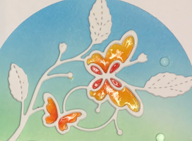 Butterfly card made with the Bellina Flora die from Poppy stamps