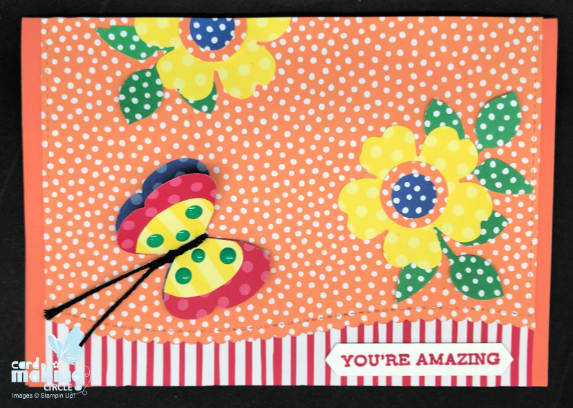 Butterfly card made using punches and patterned paper from Stampin Up!