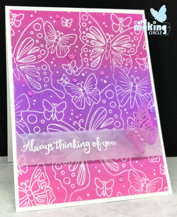 Butterfly card made using the Outline Butterflies background stamp from Simon Says stamps.