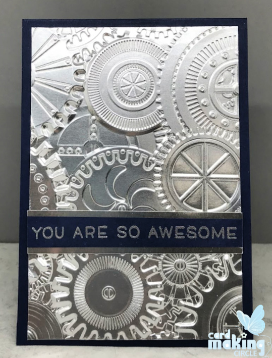 cards for men and boys made with the Sizzix Mechanics 3 D texture embossing folder