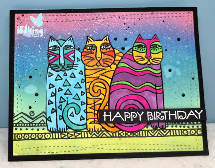 Cat cards made the the Feline Blooms stamp set designed by Laurel Bunch