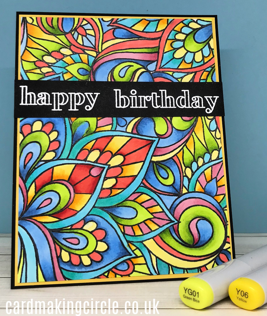 The card was created with the Colour Me Background stamp set from Taylored Expressions.  It was stamped with Memento ink and coloured with Copic markers.