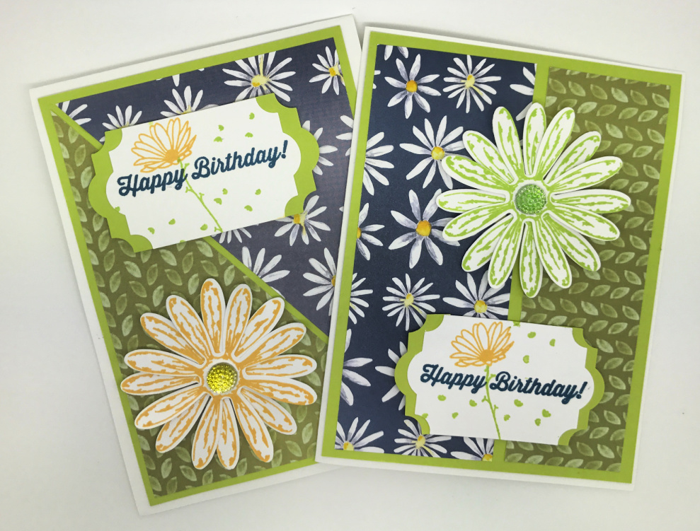 Daisy cards created with the Daisy Delight stamp set and punch from Stampin Up!