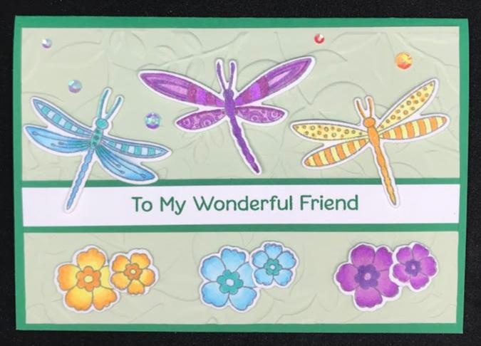 Dragonfly card for MFT card sketch challenge #423