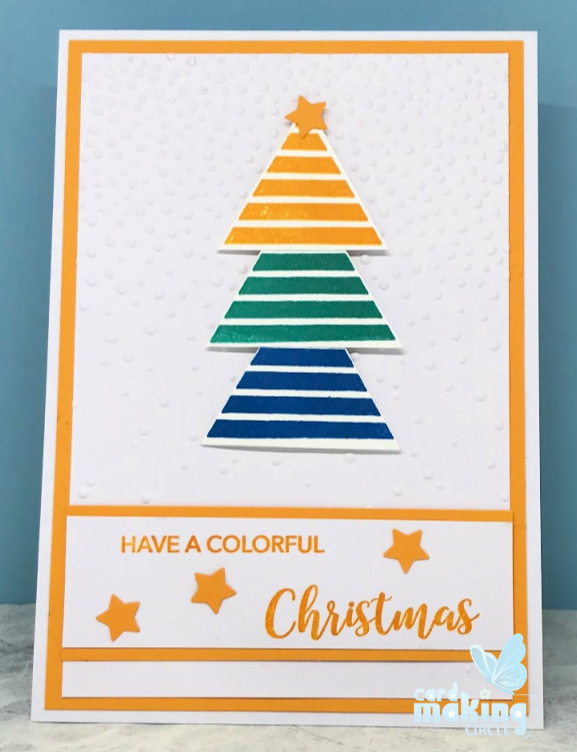 Easy Christmas card made with a falling snow embossing folder