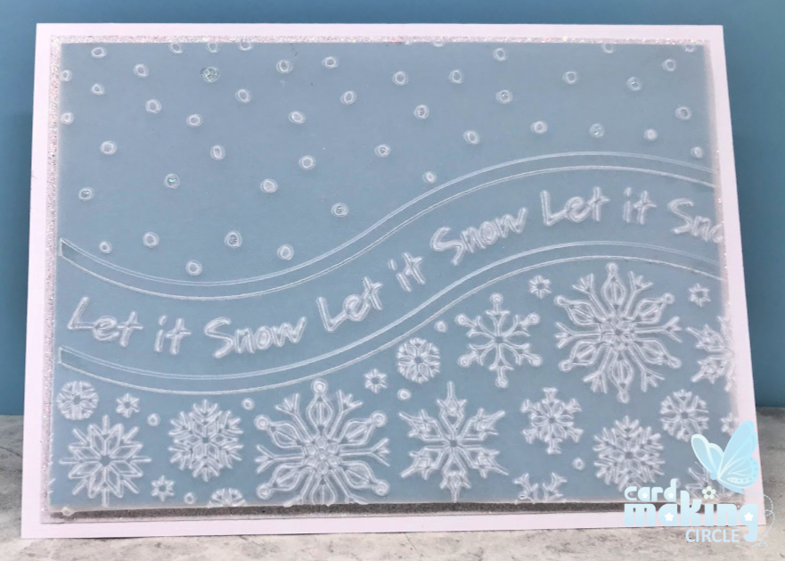 Easy Christmas card made with vellum and an Apple Blossom embossing folder