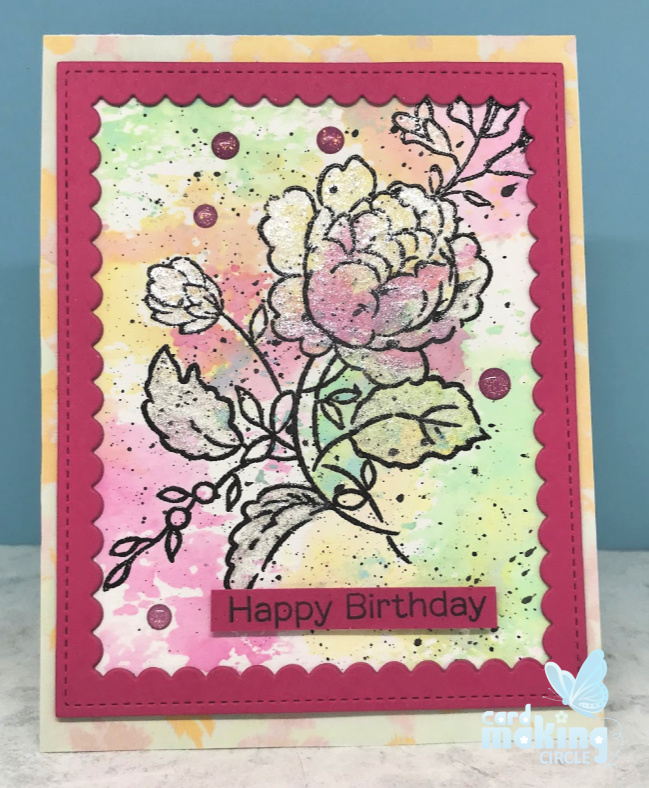 Emboss resist using the ink smooshing technique with the Handpicked Bouquet stamp set from Altenew