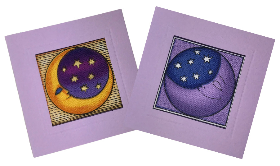 Fabric greeting cards created with moon fabric.