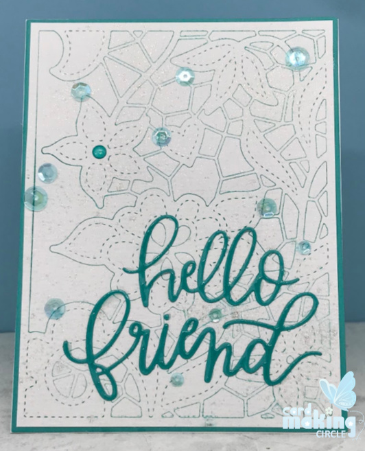 Faux letterpress technique with the doodle lace cover die from Altenew