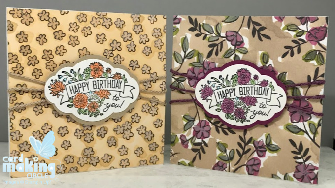 Square flower birthday cards made with patterned paper