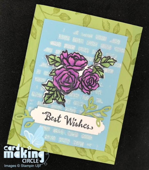 Flower birthday card created with embossing paste and flower die cut.
