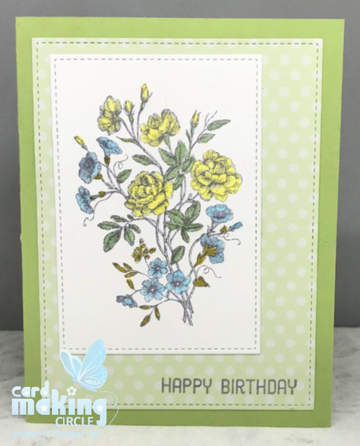 Flower birthday card made with stamped image and coloured with copic markers