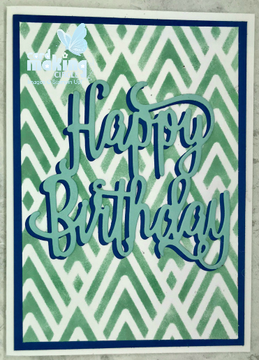 Happy Birthday card with stencilled background