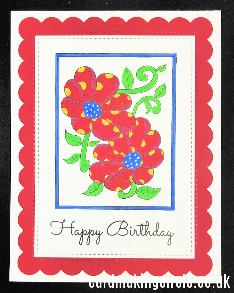 A cheerful Happy Birthday card created with a download from Card Making Circle.  coloured with Copic markers.