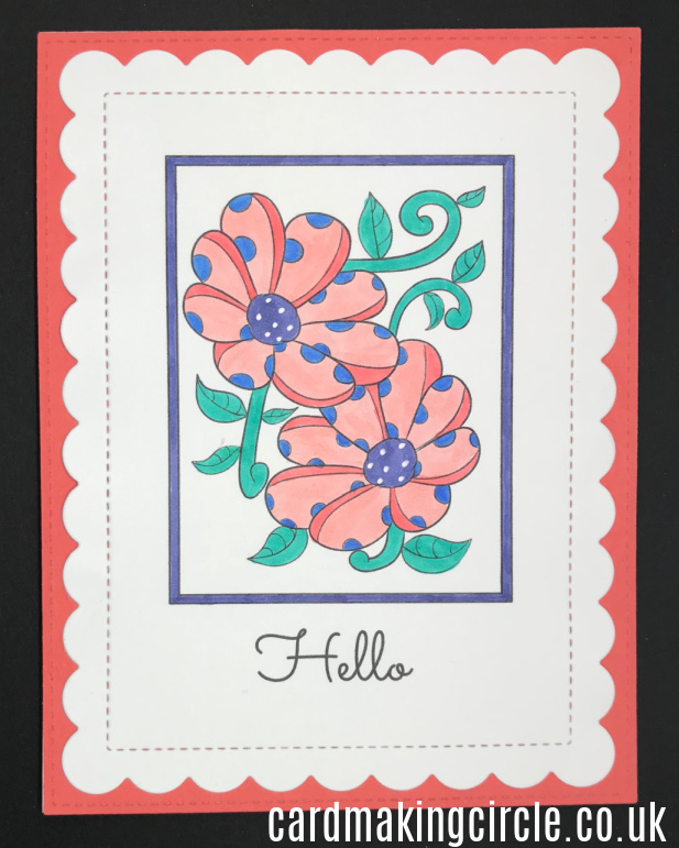 A hello card created from a download from Card Making Circle.  Coloured with Copic markers.