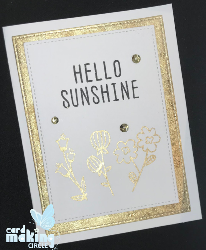 A card using the Hello Sunshine stamp set from Altenew with the gilding technique.