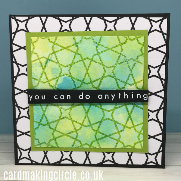 Encouragement card created with the ink smooshing technique.  Stamped with Moroccan Mosaic from Altenew.