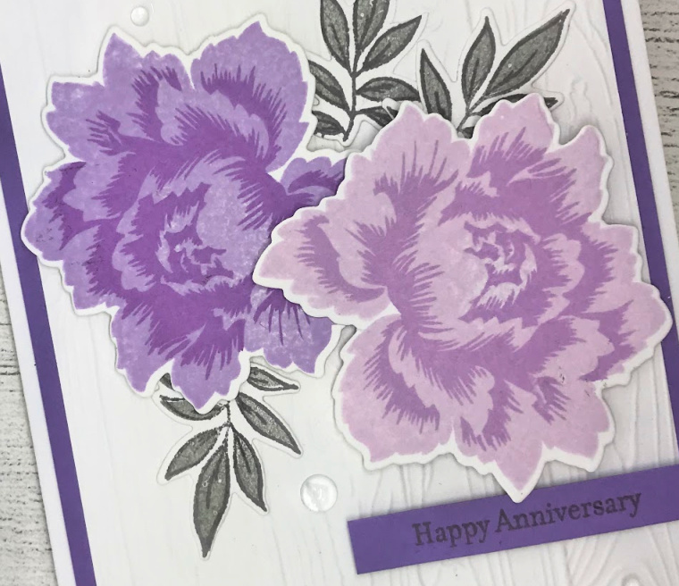 Layered stamp card using the Peony Bouquet stamp set from Altenew