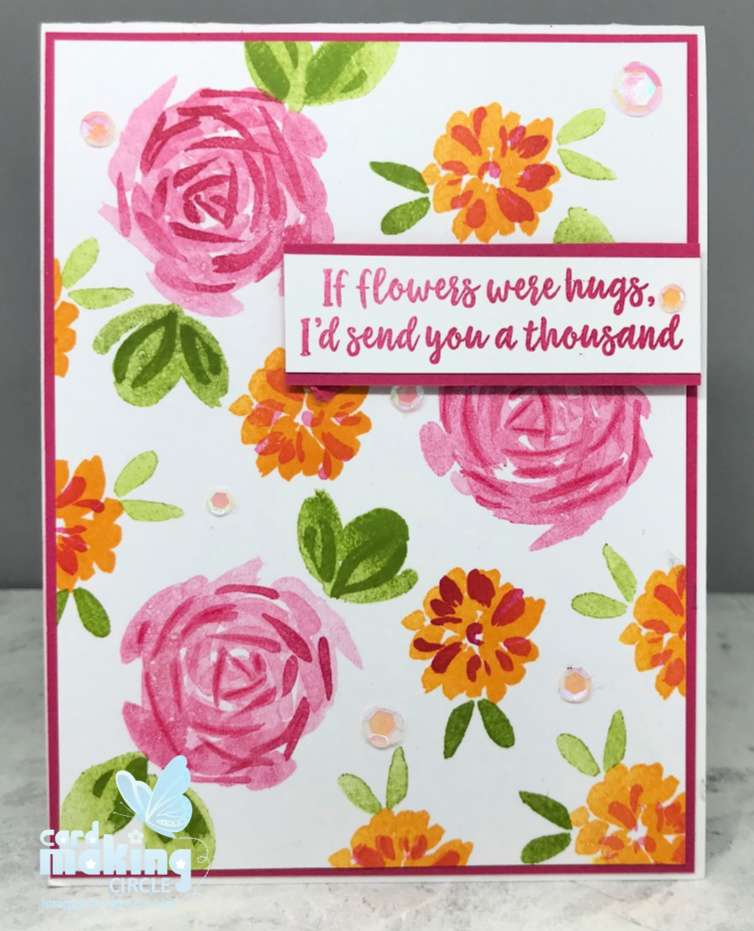 Layered stamp card created with the Abstract impressions stamp set from Stampin Up!