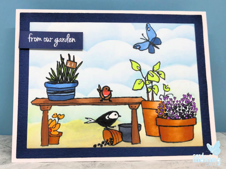 Garden scene card made using the Garden Grow stamp set from Altenew.  Created using masking techniques, ink blending and copic colouring.
