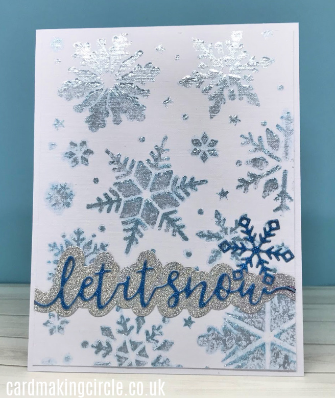 Modern Christmas Card made with Frostbite Glacier Paste and Snowflake stencil from Tonic Studios.
