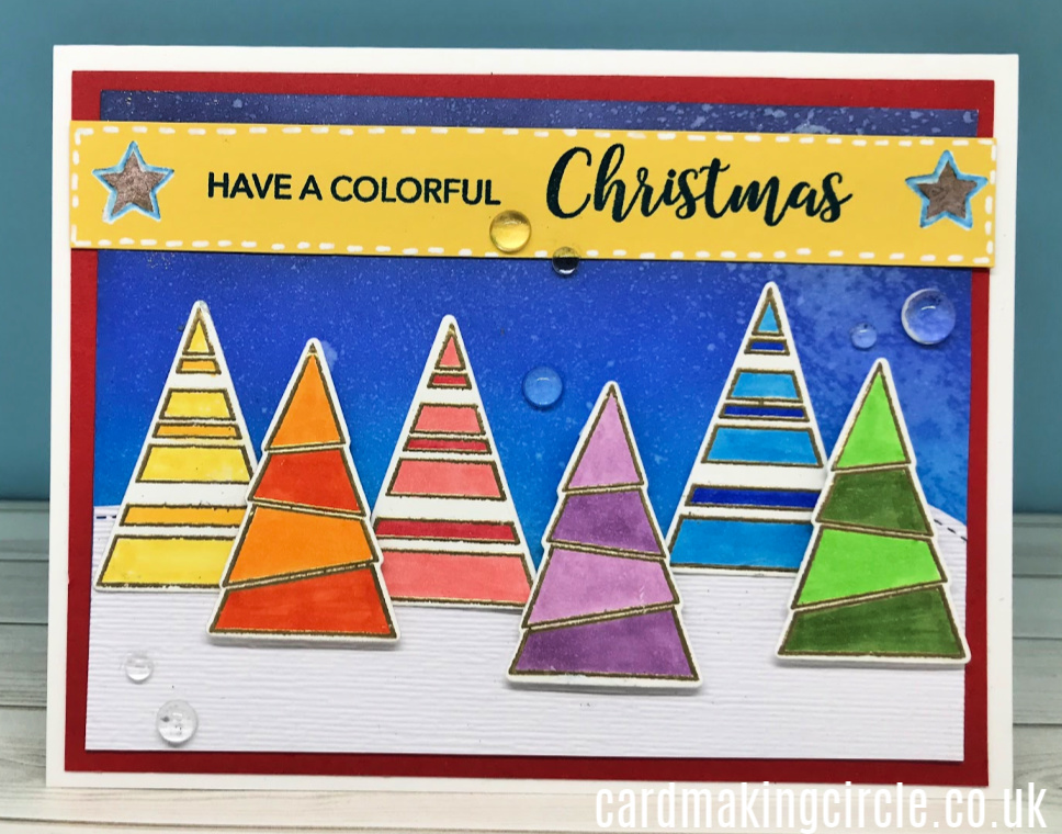 Modern Christmas Card made with the Color Me Trees stamp set from Simon Says Stamp