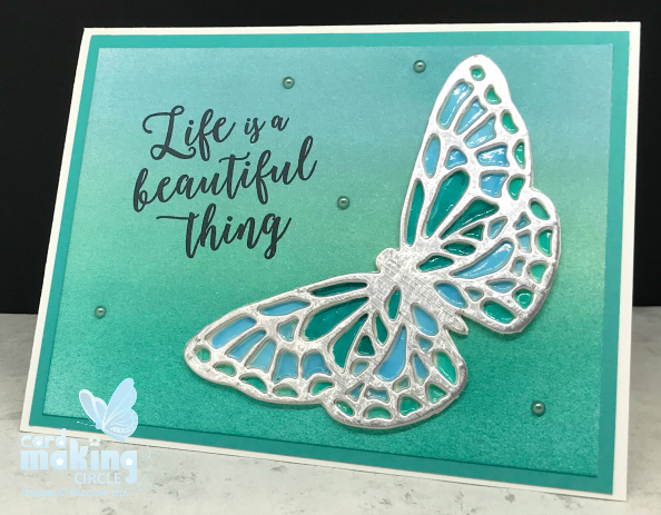Beautiful die cut butterfly made to look like stained glass