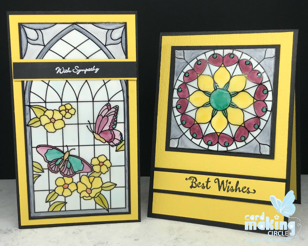 stained glass cards created using the Graceful Glass desinger vellum from Stampin Up!