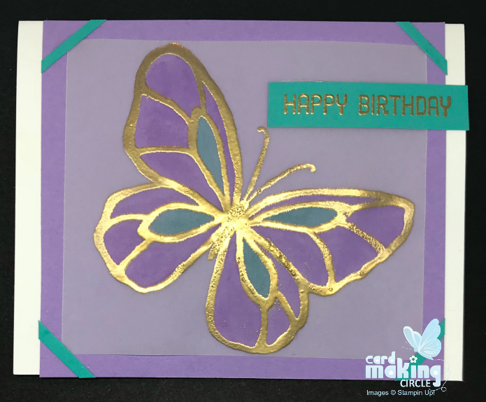 Butterfly stained class card made with the Beautiful Day stamp set from Stampin Up!