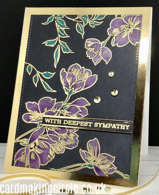 A sympathy card created with Altenew's Pen Sketched Flowers stamp set.  Stamped with Veramark ink and heat embossed in Gold embossing powder.  Coloured with Polychromos pencils.