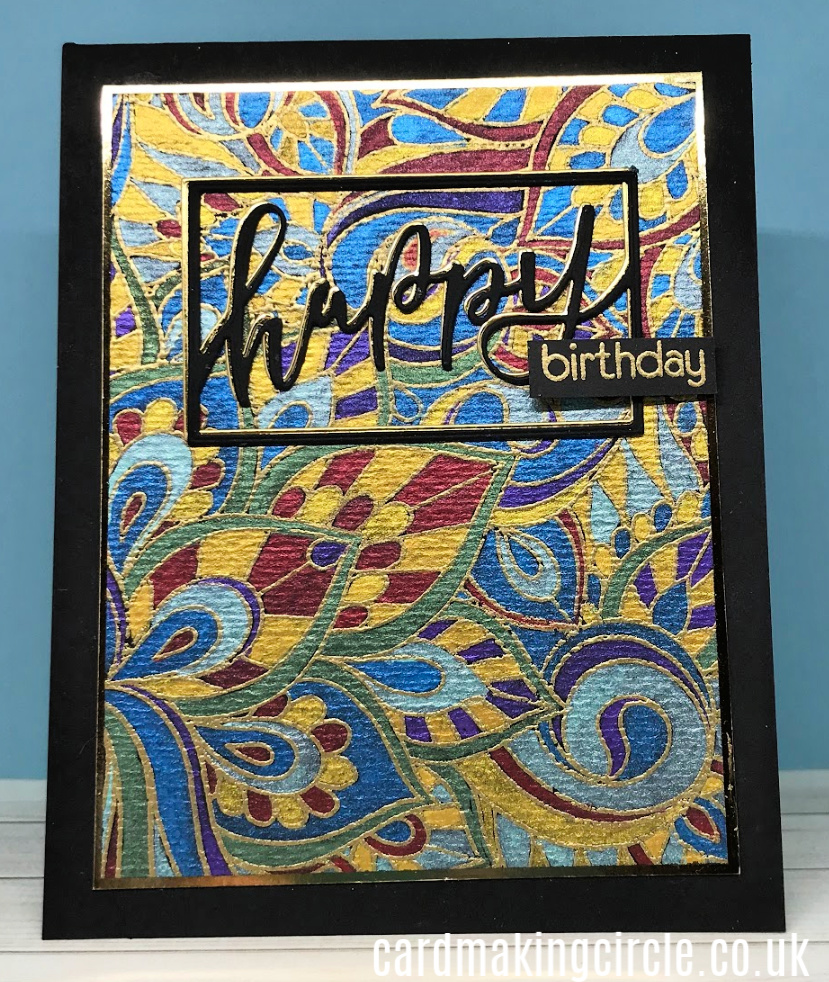 The card was created using the Color Me Background from Taylored expressions.  It was painted with the Metallic Watercolour paint set from Altenew.