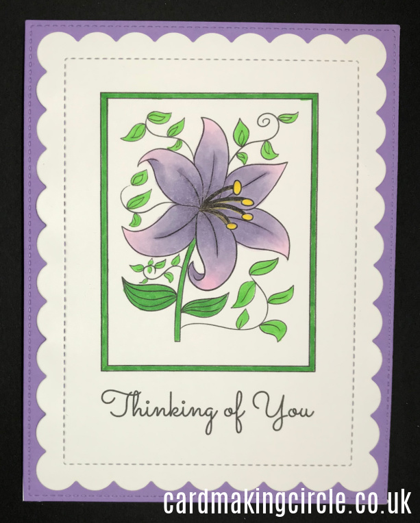 A Thinking of You card made with a download from Card Making Circle.  Coloured with Copic markers.