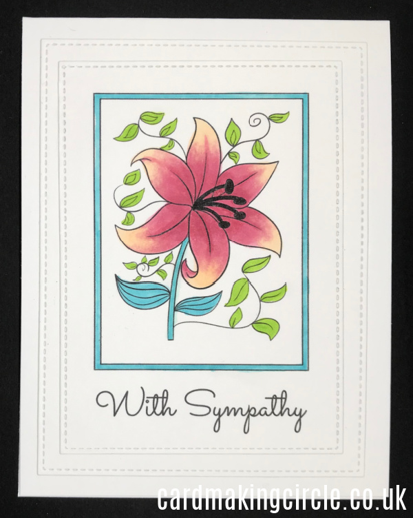 A With Sympathy card made with a download from Card Making Circle.  Coloured with Copic markers.