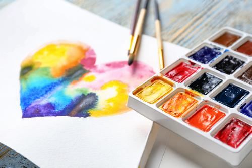 painting rainbow heart
