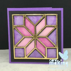 Stained glass card created with multiple layers of card topped in gold card.  Die cut from the Quilt Builder die set from Stampin Up!
