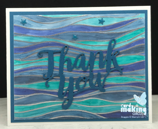 Thank you Stained glass card made with the seaside embossing folder from Stampin Up!
