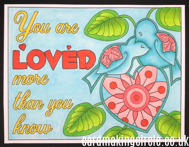 A kindness card made with a download from the Card Making circle website.  Coloured with Copic markers.